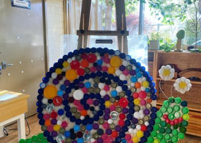 Snail made out bottle tops