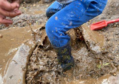 jumping on mud